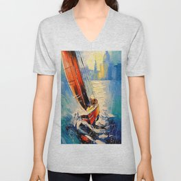 Yacht in the wind Unisex V-Neck