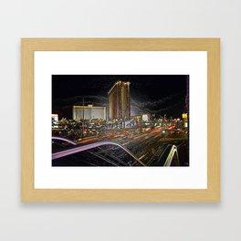 The Strip Las Vegas in plastic Framed Art Print