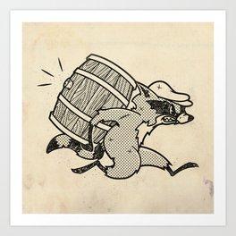 THE  WHISKEY SMUGGLER - vintage cartoon 80's Art Print
