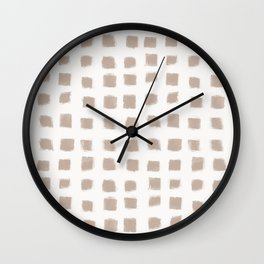 Polka Strokes - Nude on Off White Wall Clock
