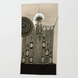 "Art Deco Sepia Illustration ""Athena"" Beach Towel"