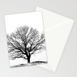 Black and White tree Stationery Cards
