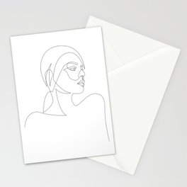 liny - linear girl portrait Stationery Cards
