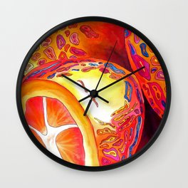 Orange kumquat citrus pop art watercolor fruit Wall Clock