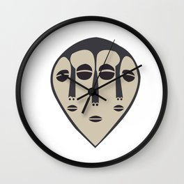 African Tribal Mask No. 5 Wall Clock