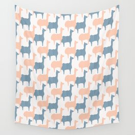 Pastel Pink and Blue Llama Silhouette Seamless Wall Tapestry