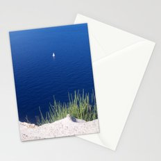 Lonely sailboat off the Mediterranean coast Stationery Cards