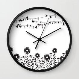 Flowers in summer Wall Clock