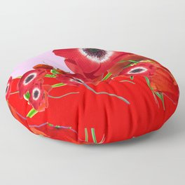 RED TIDE OF RED SPRING ANEMONE  GARDEN  FLORAL Floor Pillow