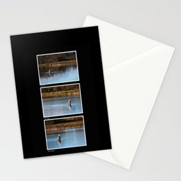 Gone Fishing Triptych Black Stationery Cards