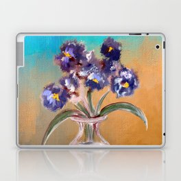 Purple And Blue Pansies In Glass Vase Laptop & iPad Skin