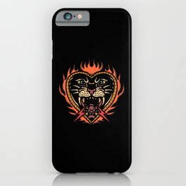 Burning panther with flashes cool tattoo style iPhone Case