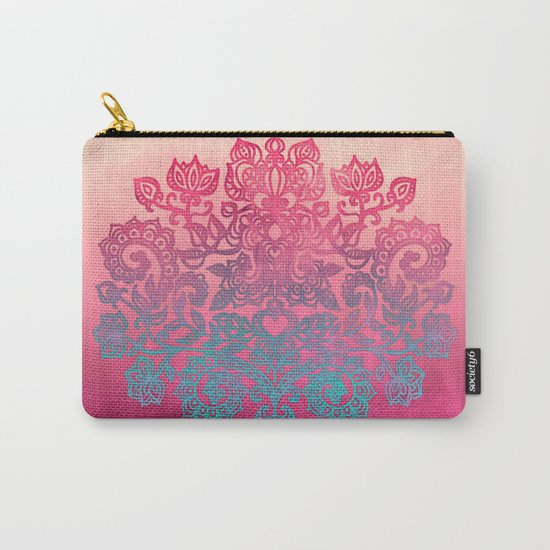 Ombre Canvas Folk Art Doodle in aqua, pink & peach Carry-All Pouch
