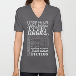 Folded Between the Pages of Books - Black Unisex V-Neck