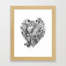 black and white jungle leopard Framed Art Print