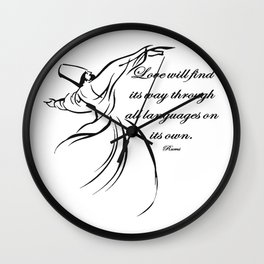 Love Will Find Its Way Through All Languages Rumi Quote Wall Clock