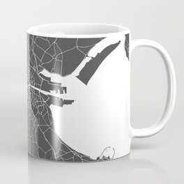 Dublin Street Map Gray and White Coffee Mug