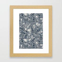 forest floor indigo ivory Framed Art Print