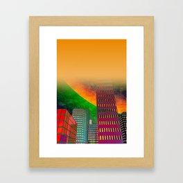 digicity orange curtain Framed Art Print