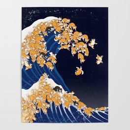 Shiba Inu The Great Wave in Night Poster