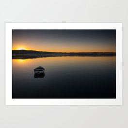 Boat on Knysna lagoon at Sunrise Art Print