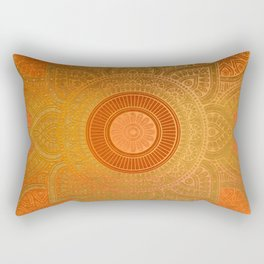 """Savanna Orange-Gold Mandala"" Rectangular Pillow"