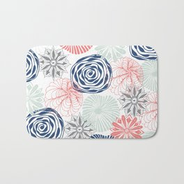 Floral Pattern in Coral Red, Navy Blue and Aqua Bath Mat