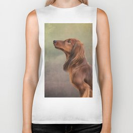 Dog breed long haired dachshund portrait oil painting Biker Tank