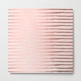 Rose Gold Blush Stripes Metal Print