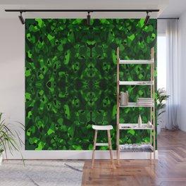 Brilliant ornament of green spots and velvet blots on black. Wall Mural
