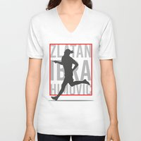 zlatan V-neck T-shirts featuring Zlatan Ibrahimovic by Mountain Top Designs