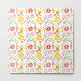 Abstract hand painted yellow pink orange sweets fruit pattern Metal Print