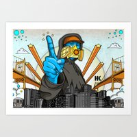 graffiti Art Prints featuring Graffiti by Helen Kaur