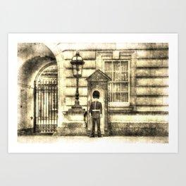 Buckingham Palace Queens Guard Vintage Art Print