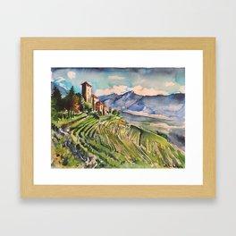 Castle, Mountain, vineyards, scenery, Italy, Austria, Alps, Lebenberg, watercolor, realistic, nature Framed Art Print