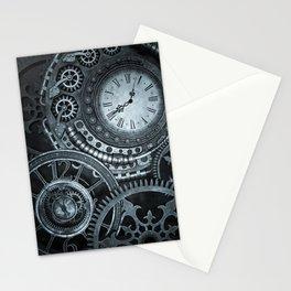 Silver Steampunk Clockwork Stationery Cards