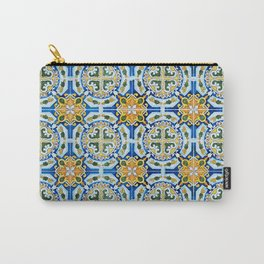 Seamless Floral Pattern Ornamental Tile Design : 2 - Blue, yellow Carry-All Pouch