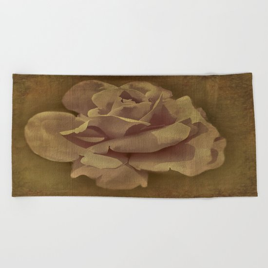Painterly Vintage Antique Rose Beach Towel