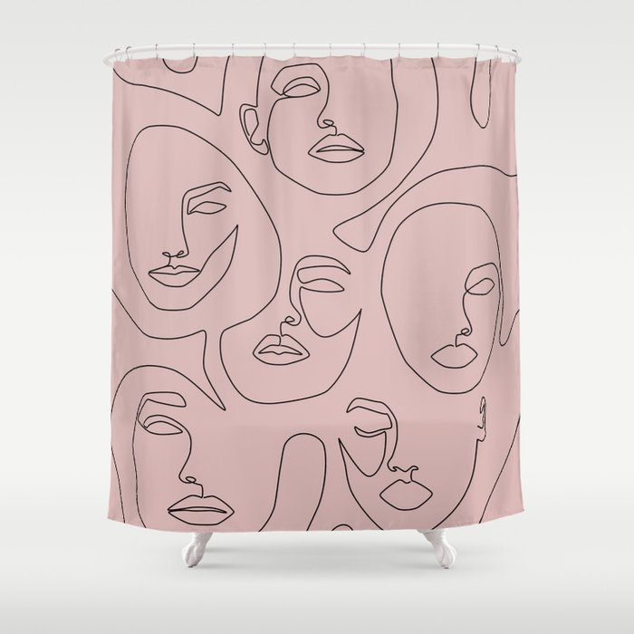 Shop Blush Faces Shower Curtain from Society6 on Openhaus