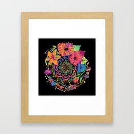 Neon Mandala and Flowers Framed Art Print