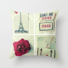 Paris Collage Throw Pillow