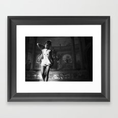 young girl in old house Framed Art Print