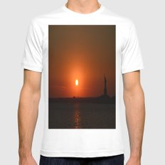 A Sunset With Lady Liberty Mens Fitted Tee White MEDIUM