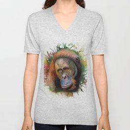 An Orangutan Watercolor Portrait Unisex V-Neck