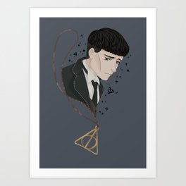 Credence Barebone + Deathly Hallows necklace Art Print