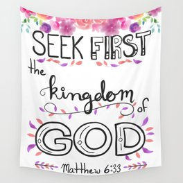 Seek First Ruby Roses Wall Tapestry