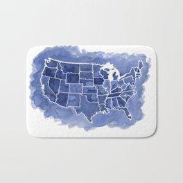 Watercolor Map of America Bath Mat