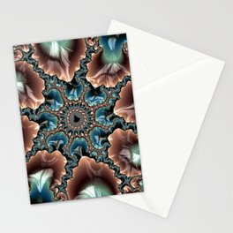 Elegant Scallops Feather Abstract Fractal Brown Aqua Turquoise Cream Shiny Stylish Digital Graphic Stationery Cards