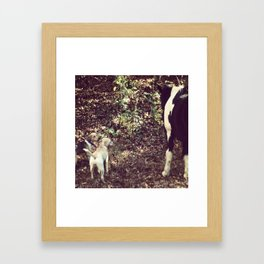 Dogs with Horse Framed Art Print