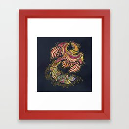 Watercolor Phoenix bird Framed Art Print